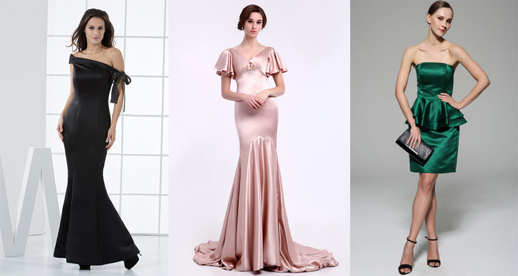 satin evening dresses